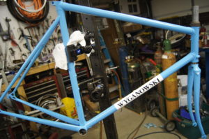 A repaint of a customers frame who was going back to steel after realizing the pit falls of a carbon frame. This was the 3 finish the frame has had